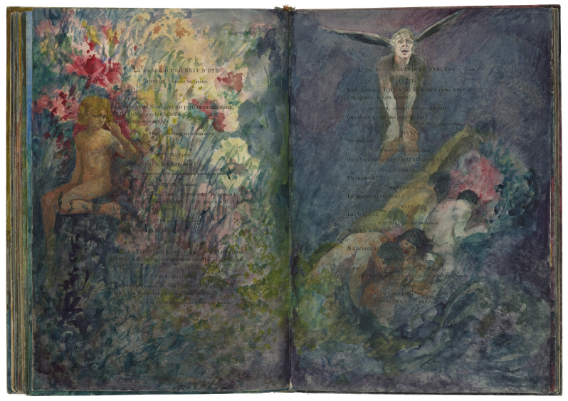 Pinckney Marcius-Simons (USA, 1867-1909); watercolour illustrations painted onto the pages of an 1886 French edition of A Midsummer Night's Dream, translated by Paul Meurice. 1908. Courtesy of the Folger Shakespeare Library.