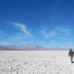 On the salar, looking east to the community and the Andean ranges.