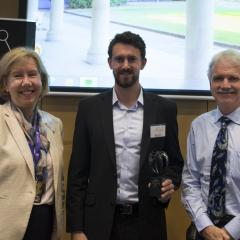 UQ Faculty of Science Executive Dean Professor Melissa Brown (left), with PhD student James Allan and UQ Provost Professor Aidan Byrne.