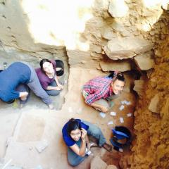 Kasih Norman, Anna Florin, Kate Connell and Teirney Liu excavate at Madjed