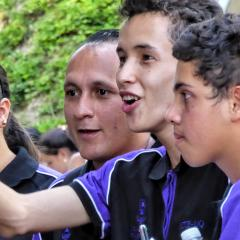 Colombian students giving a tour of their neighbourhood