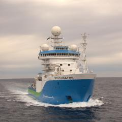 The RV Investigator in open water